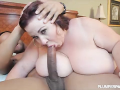 Big titted BBW mom fucks her son's black friend