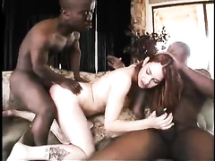 BBC and midget interracial double team creampie redhead