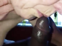 Wrinkly granny sucking on a BBC in a POV cuckold vid