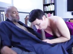 Happy housewife with natural tits fucks a BBC repairman