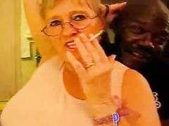 Amateur white granny gets bbc as husband films