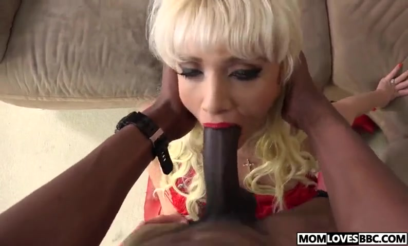 White blonde mommy sucks bbc in front of son