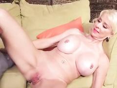 White blonde milf with pierced nipples rides BBC