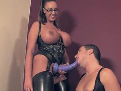 Big titted mistress in latex humiliates her sub sissy cuck