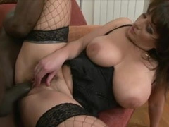 German white milf in lingerie takes black stud's cock