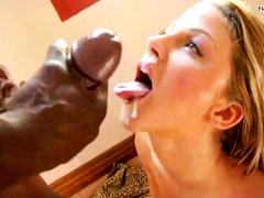White wife worships BBC cum